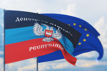 Waving European Union flag and flag of The Donetsk Peoples Republic, DPR or DNR. Closeup view, 3D illustration. Фото со стока