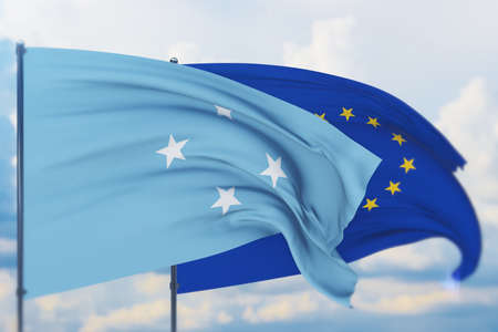 Waving European Union flag and flag of Federated States of Micronesia. Closeup view, 3D illustration.