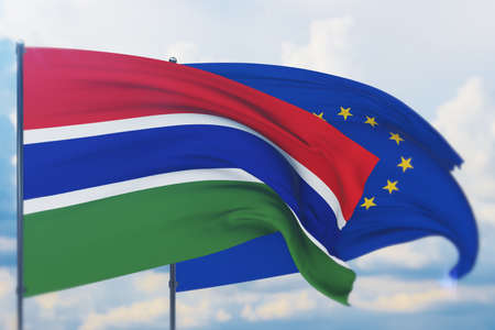 Waving European Union flag and flag of Gambia. Closeup view, 3D illustration.