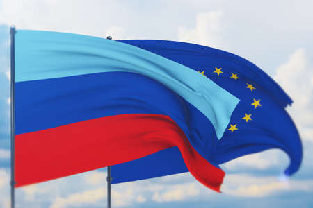 Waving European Union flag and flag of The Luhansk Peoples Republic. Closeup view, 3D illustration.