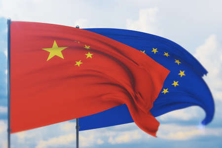 Waving European Union flag and flag of China. Closeup view, 3D illustration.