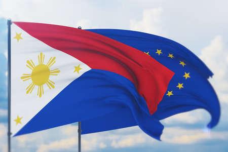 Waving European Union flag and flag of Philippines . Closeup view, 3D illustration. Фото со стока