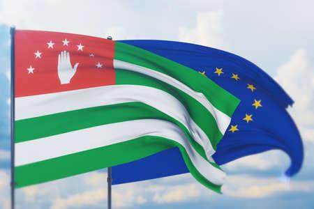 Waving European Union flag and flag of Abkhazia. Closeup view, 3D illustration.