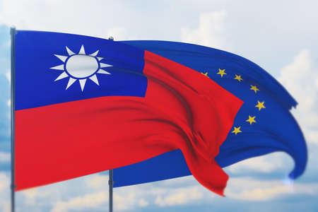 Waving European Union flag and flag of the Republic of China. Closeup view, 3D illustration. Фото со стока