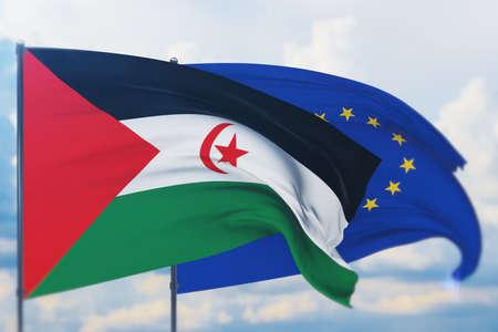 Waving European Union flag and flag of Sahrawi Arab Democratic Republic. Closeup view, 3D illustration.