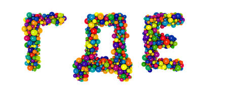Multicolored russian alphabet letters G D E. Funny 3D illustration. Glossy multicolored decorative balls text.