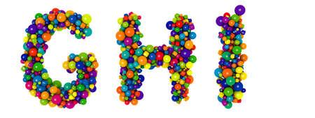 Multicolored letters G H I. Funny 3D illustration. Glossy multicolored decorative balls text.