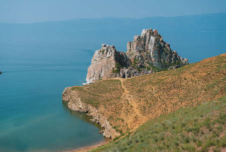 Cliffs on Olkhon Island. Lake Baikal is a rift lake located in southern Siberia, Russia. The largest freshwater lake by volume in the world. A Natural Wonder Of The World.