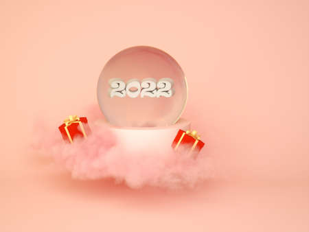 New Years 2022 concert, the numbers on pink clouds, 3D render. 3D greeting card design.