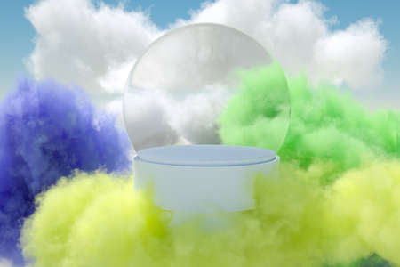 Product podium surrounded by colored clouds 3D render. Фото со стока