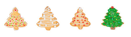 Set of new year xmas tree homemade gingerbread cookies isolated on white background.