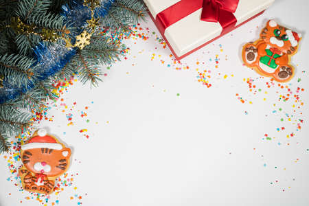 Christmas background with gift and tiger gingerbread . Holiday mood card. Top view, copy space. Family traditions, DIY, celebration concept. Festive background with homemade gingerbread cookies.