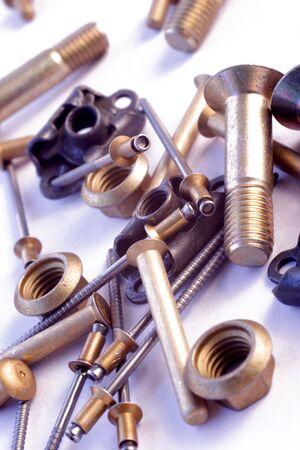 aircraft engine: aircraft nuts and bolts Stock Photo