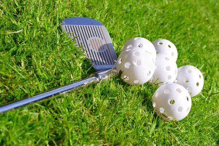practise golf ball and club Stock Photo - 394308