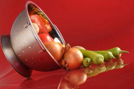 vegetables in a colander photo