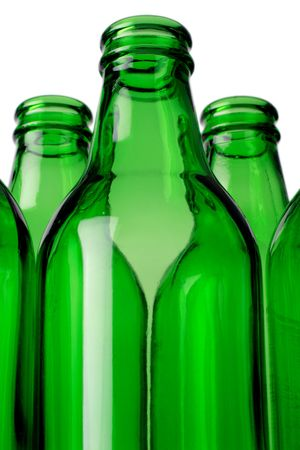 Empty green bottles