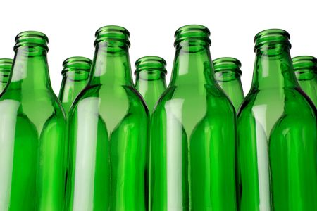 Empty green bottles in a row