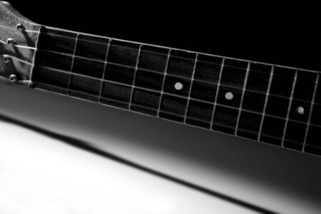 ukulele, string instrument. black and white photography photo