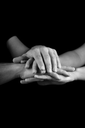 carers: group of hands Stock Photo