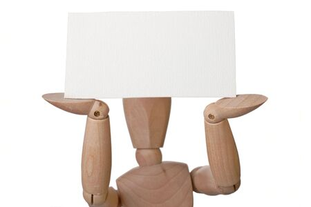 manequin: mannequin holding up blank card Stock Photo