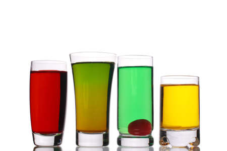 variety of small shot drinks photo