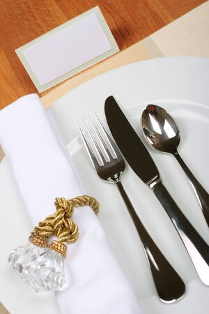 cater: formal dinner service as at a wedding, banquet with blank seating card