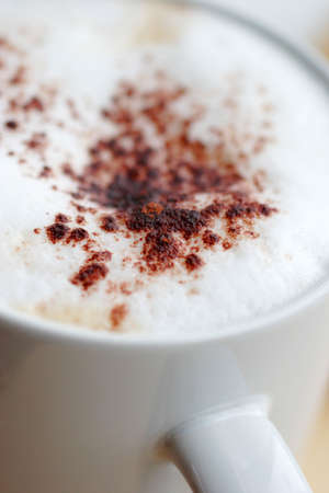 frothy: cup of frothy coffee with chocolate sprinkled on top