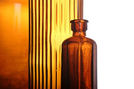 antique orange colored glass bottles, medical Stock Photo - 662596