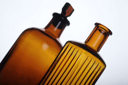 antique orange colored glass bottles, medical Stock Photo - 662597