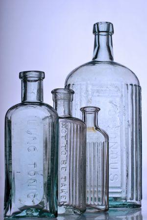 antique glass bottles, medical purposes photo