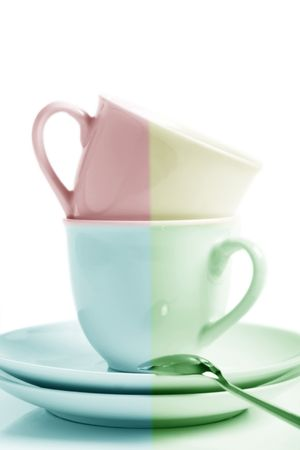 2 cups 2 saucers and spoon, ready for a cup of tea. Stock Photo - 676012