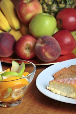 fresh fruits and soft cheeses photo