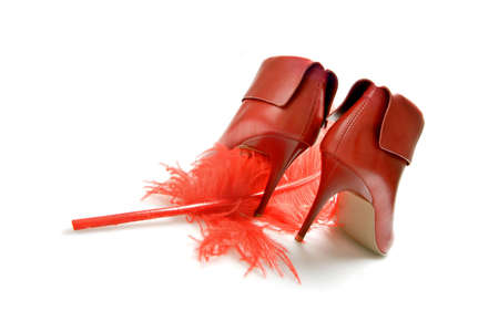 red sexy boots with red feather photo