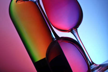 wine and glasses with ambient lighting Stock Photo - 783939