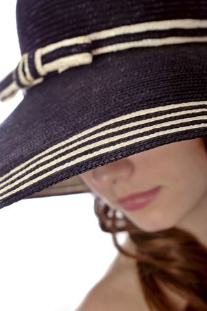 brim: woman wearing a hat , focus on hat brim