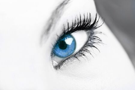 selective color on blue eye photo