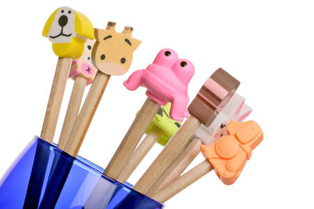the novelty: pencil top novelty erasers Stock Photo