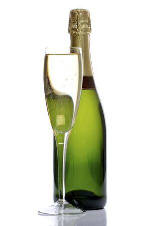 green glass bottle: bottle and glass of champagne, ready to celebrate