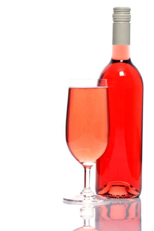 bottle and glass of rose wine, ready to celebrate photo