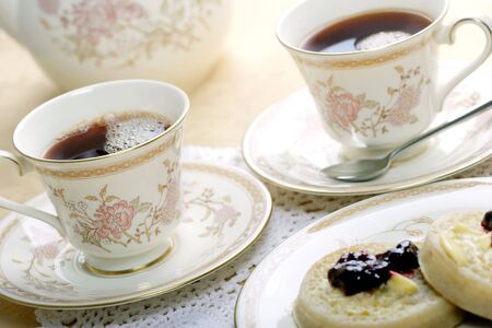 tea hot drink: tea and crumpets for two