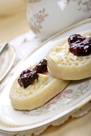 toasted crumpets and jam Stock Photo - 900589