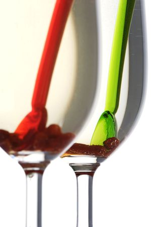 stirrer:  Goji berry drink, high in antioxidants.A natural source of vitamin A , B , C and iron.focus on green cocktail stirrer