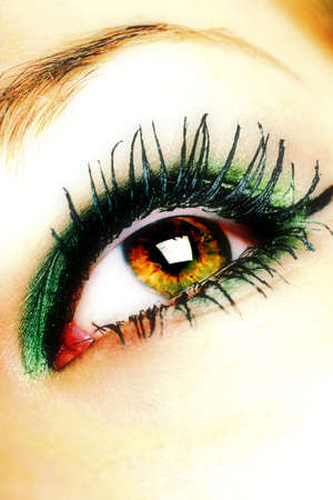 cross processed: beautiful eye with makeup, cross processed