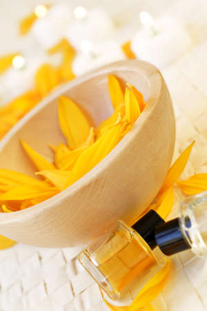destress: mixture of soothing oils and scented candles to de-stress life