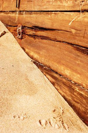groyne: old weathered and worn beach groyne ,  coastal defence
