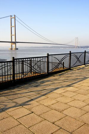 Humber Bridge, Hull, England. Was once the largest suspension bridge in the world. Stock Photo