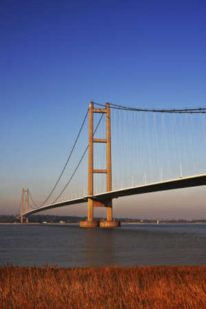 yorkshire and humber: Humber Bridge, Hull, England. Was once the largest suspension bridge in the world. Stock Photo