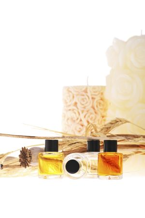 aromatherapy oils, candles and dried poppies. perfect for relaxation and rest.