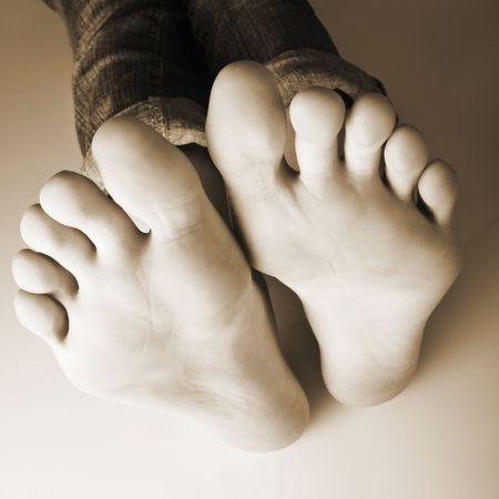 all in: diez dedos de los pies a todos en una fila  Foto de archivo