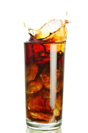 ice filled carbonated soft drink with a splash photo